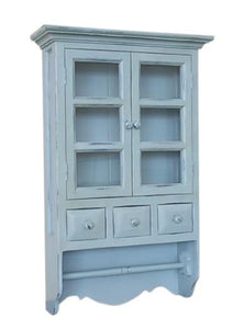 French Country Chic Medicine Cabinet Shelf & Rail Wall Unit Shabby Chic Distressed Wood