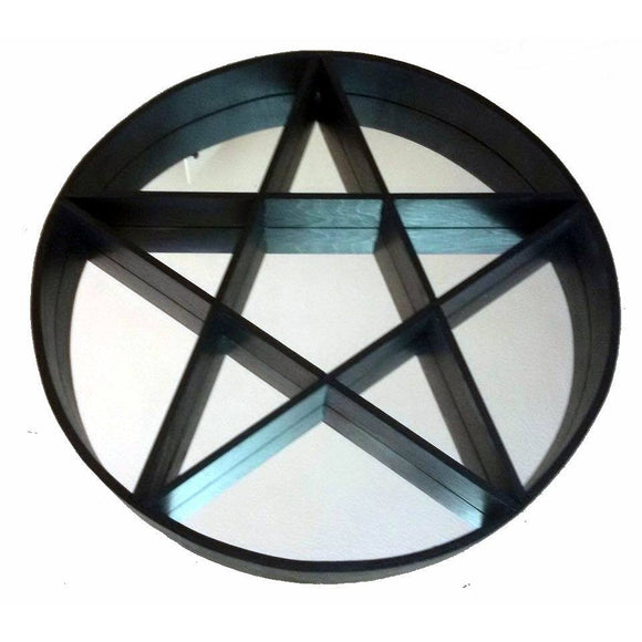 Mirror Pentagram Shelving Unit Circular with Black Shelves and Surround 60cm
