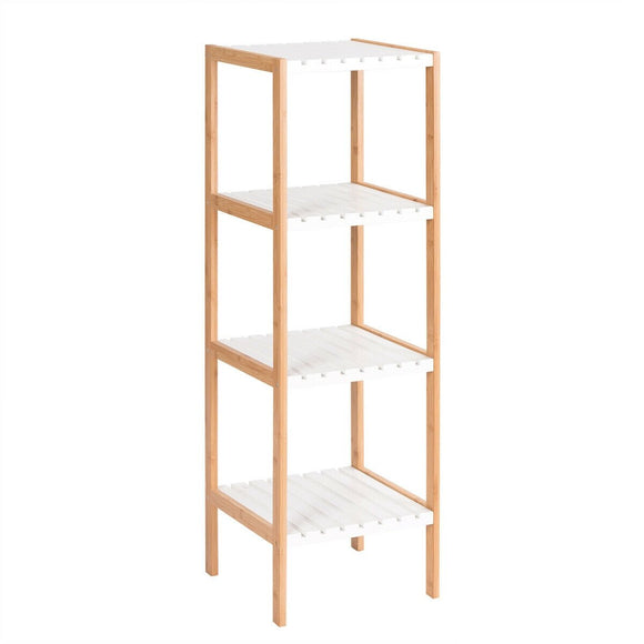 4-Tier Bamboo Utility Shelves Domestic Storage Freestanding Units Shelf