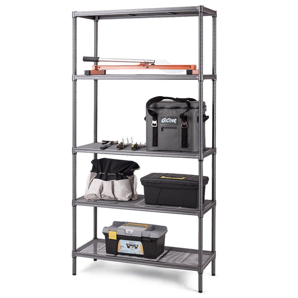 Steel Mesh Organization Home Kitchen Storage Shelf Rack-5-Tier