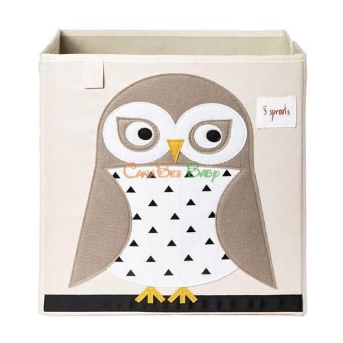 3 Sprouts Storage Box - Owl Beige