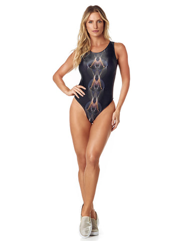 LOURDES BODYSUIT - BLACK METALLIC/FLAMES - BD106.001