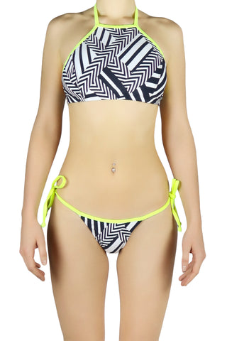 DJW BIKINI SET - BLACK/ WHITE PATTERNED/ NEON YELLOW STRAPS - KIT265.001