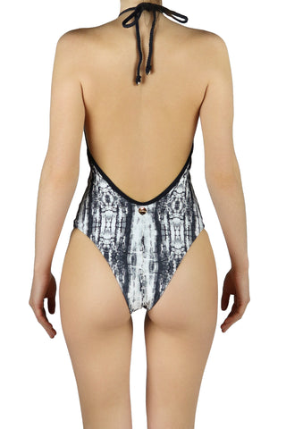 DJW BATHING SUIT - BLACK/WHITE COBRA PATTERNED- MA33.002