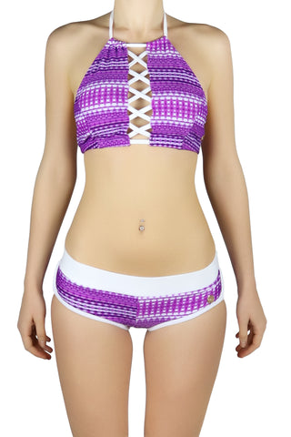DJW BIKINI SET -  PURPLE/WHITE PATTERNED - KIT269.002