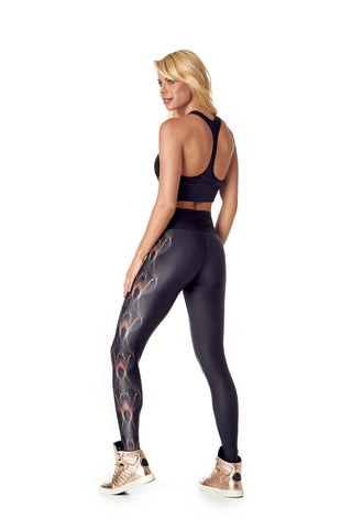 SERINDA LEGGING - BLACK METALLIC/FLAMES - FS505.001