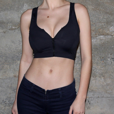 ACTIVE TOP [BLACK/ZIPPER]