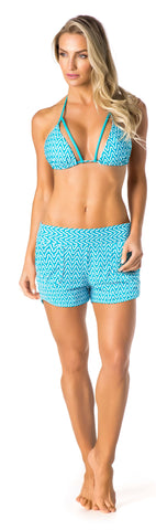 SWIMSUIT COVER UP SHORTS - BLUE/WHITE PATTERNED - SP102.002