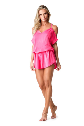 SWIMSUIT COVER UP - JUMPSUIT [HOT PINK] - SP52.004