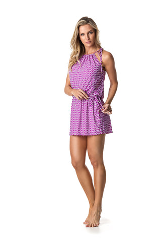 SWIMSUIT COVER UP DRESS - FUSHIA/WHITE PATTERNED - SP61.001