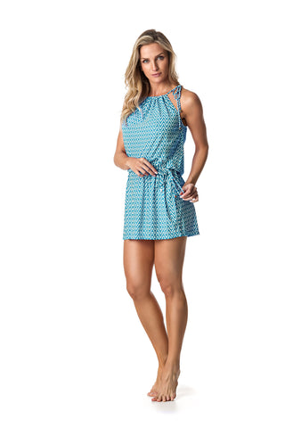 SWIMSUIT COVER UP DRESS - BABY BLUE/WHITE PATTERNED - SP61.004