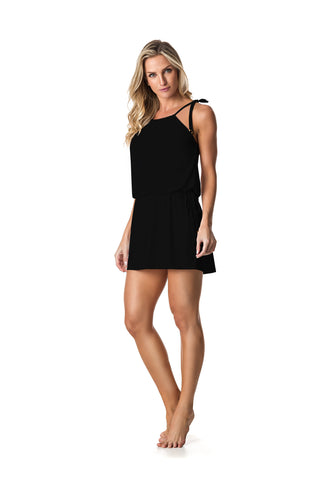 SWIMSUIT COVER UP DRESS - BLACK - SP61.005