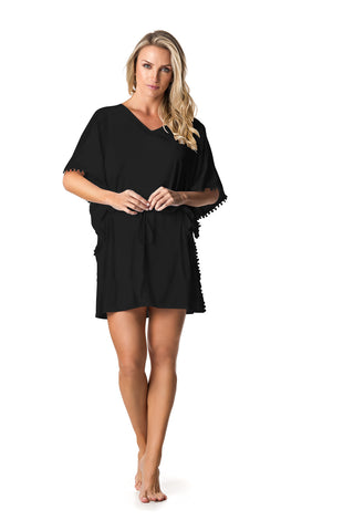 SWIMSUIT COVER UP DRESS - BLACK - SP64.002