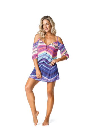 RIO SWIMSUIT COVER UP - PURPLE/PINK PATTERNED