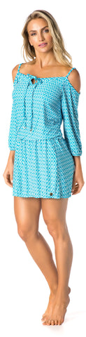 SWIMSUIT COVER UP - BABY BLUE/WHITE PATTERNED