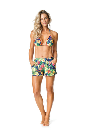 SWIMSUIT COVER UP SHORTS- TROPICAL/GREEN/FLORAL PATTERNED - SP88.001