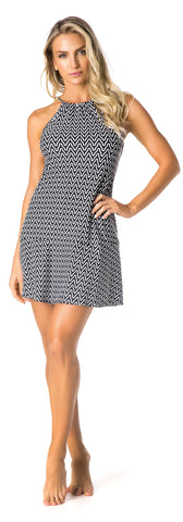 SWIMSUIT COVER UP - WHITE/BLACK PATTERNED