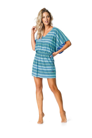 SP92.001 SWIMSUIT COVER UP - TEAL/PATTERNED