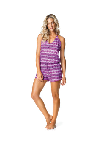 SWIMSUIT COVER UP - PURPLE/PATTERNED