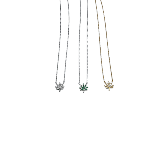 Hemp Leaf Rhinestone Necklace