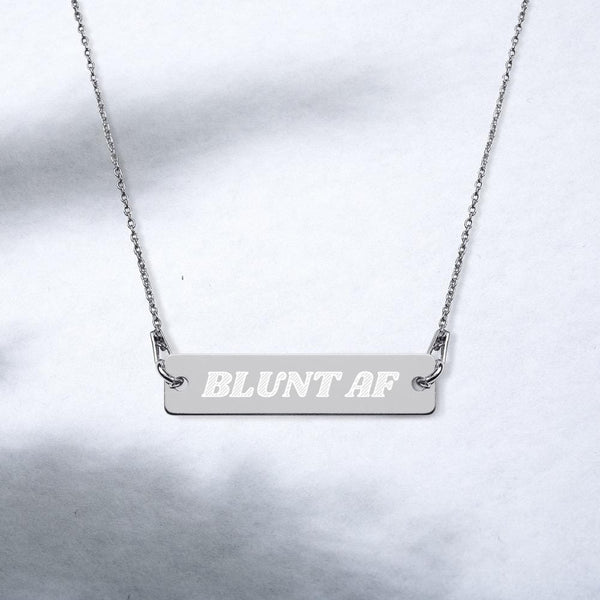 Blunt AF Engraved Silver Bar Chain Necklace - Think Hemp Chicks