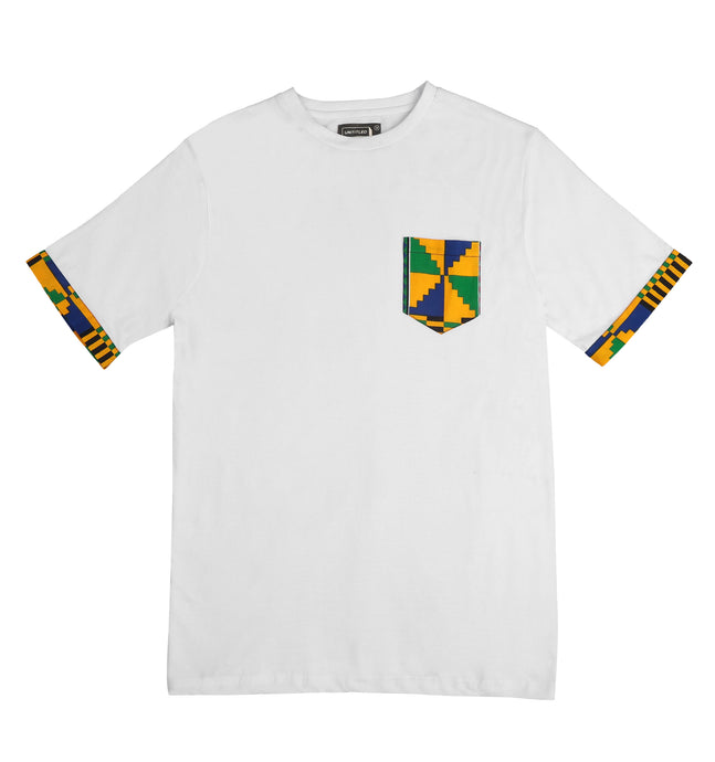 'Kente' Pocket tee White