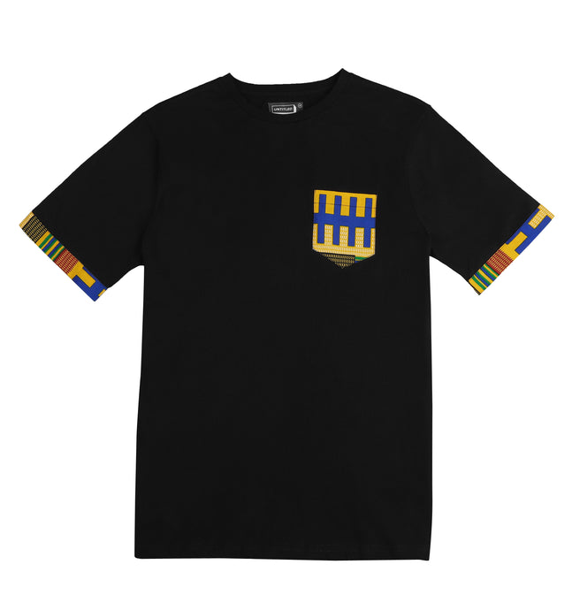 'Kente' Pocket tee Black