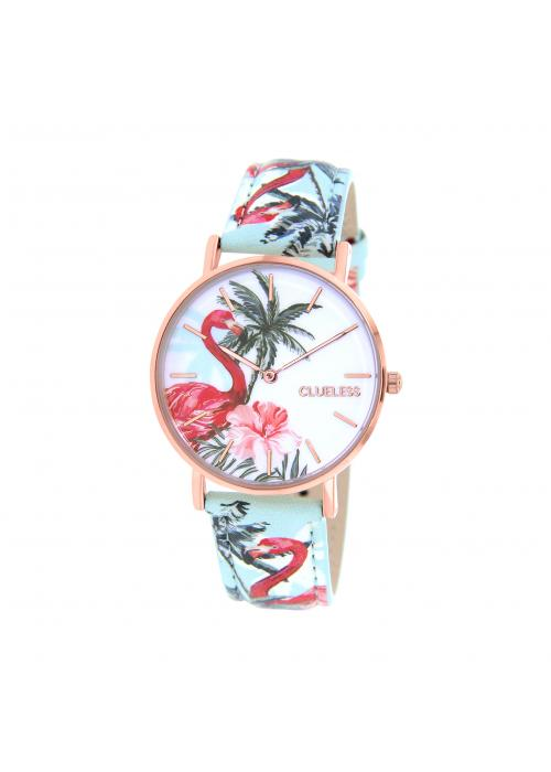 Clueless Montre Femme -  Cadran multicolore - Collection TROPICAL-CUIR MULTICOLORE / ROSE | BCL10032-069