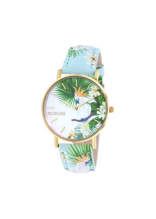 Clueless Montre Femme -  Cadran multicolore - Collection TROPICAL-CUIR MULTICOLORE / OR | BCL10032-070