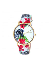 Clueless Montre Femme -  Cadran multicolore - Collection TROPICAL-CUIR MULTICOLORE / OR | BCL10032-072