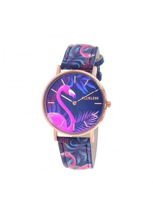 Clueless Montre Femme -  Cadran multicolore - Collection TROPICAL-CUIR MULTICOLORE / ROSE | BCL10032-073