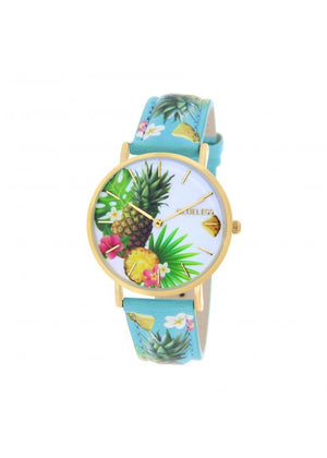 Clueless Montre Femme -  Cadran multicolore - Collection TROPICAL-CUIR MULTICOLORE / OR | BCL10032-074