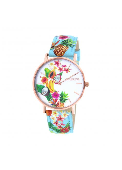 Clueless Montre Femme -  Cadran multicolore - Collection TROPICAL-CUIR MULTICOLORE / ROSE | BCL10032-075