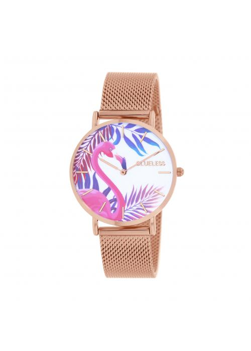 Clueless Montre Femme -  Cadran multicolore - Collection TROPICAL-MESH OR ROSE /  ROSE | BCL10034-068