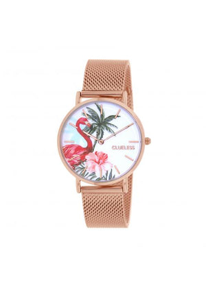 Clueless Montre Femme -  Cadran multicolore - Collection TROPICAL-MESH OR ROSE /  ROSE | BCL10034-069