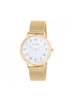 Clueless Montre Homme -  Cadran blanc - Collection HOMMES-MESH OR / OR | BCL10213-121