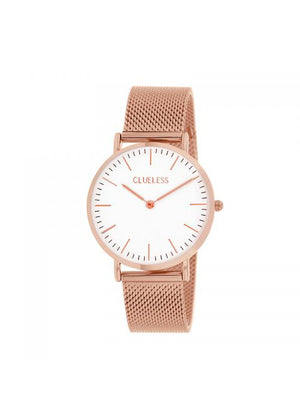 Clueless Montre Homme -  Cadran blanc - Collection HOMMES-MESH  OR ROSE / ROSE | BCL10213-801