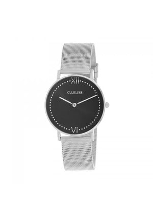 Clueless Montre Femme - Collection EMPIRE - Mesh ARGENT - Cadran NOIR| BCL10264 - 203