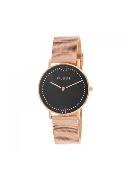Clueless Montre Femme - Collection EMPIRE - Mesh ROSE - Cadran NOIR| BCL10264 - 803