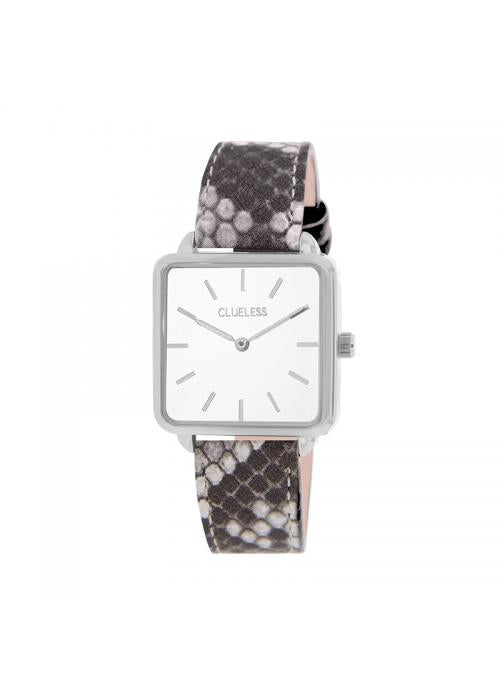 Clueless Montre Femme - Collection FAME - Cuir GRIS - Cadran BLANC| BCL10272 - 013
