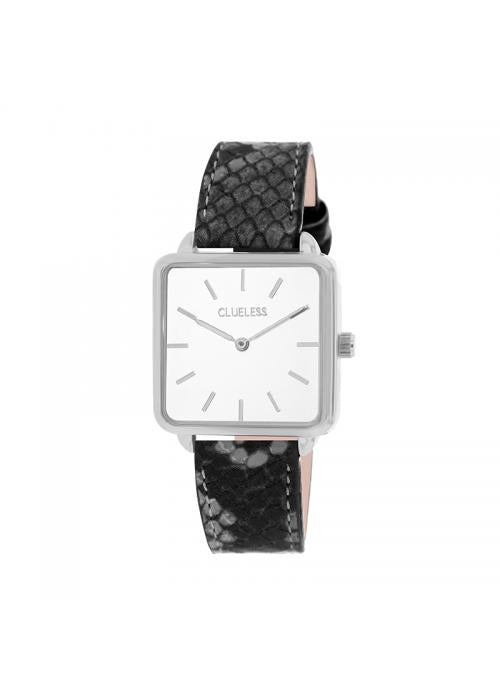 Clueless Montre Femme - Collection FAME - Cuir Gris - Cadran BLANC| BCL10272 - 014