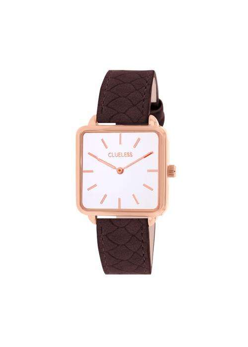 Clueless Montre Femme - Collection FAME - Cuir CHOCOLAT - Cadran BLANC| BCL10272 - 016