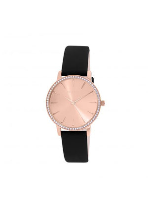 Clueless Montre Femme -  Cadran rose - Collection SPARKLE-CUIR NOIR / ROSE | BCL10282-803