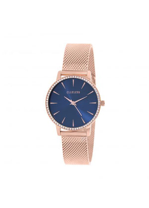 Clueless Montre Femme -  Cadran bleu - Collection SPARKLE-MESH  OR ROSE / ROSE | BCL10284-808