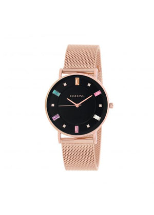 Clueless Montre Femme -  Cadran noir - Collection SPARKLE-MESH  OR ROSE /  ROSE | BCL10294-001