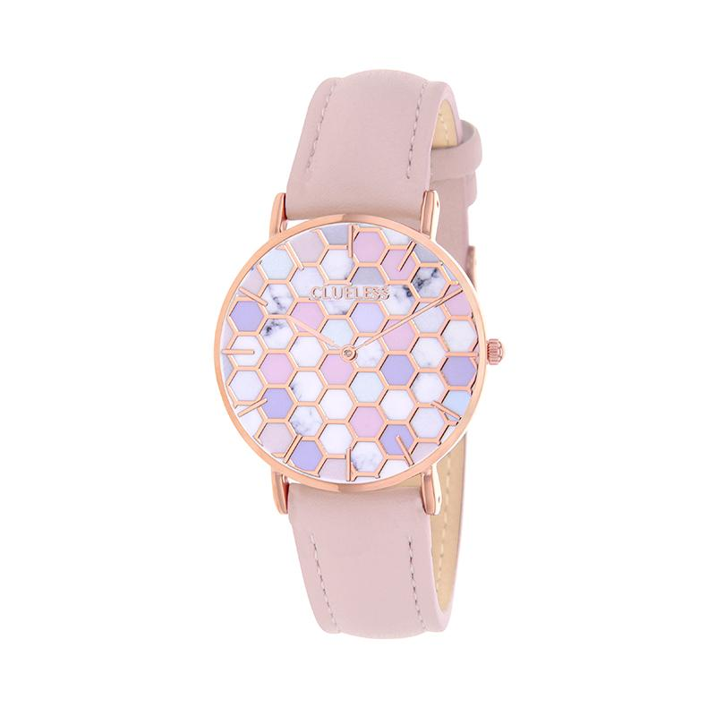 CLUELESS Montre Femme - Collection Déco - Cuir Rose | BCL10192-009