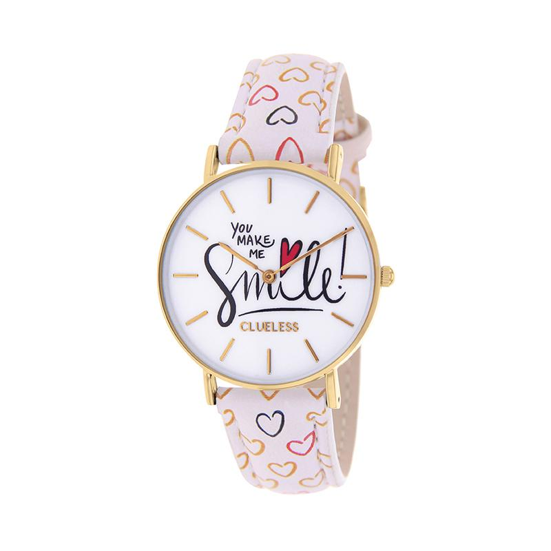 Clueless Montre Femme - Collection Happy - Cuir Blanc - Cadran Blanc | BCL10031-072