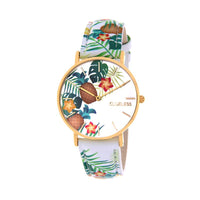 Clueless Montre Femme - Collection Tropical - Cuir Blanc - Cadran Multicolore | BCL10031-077