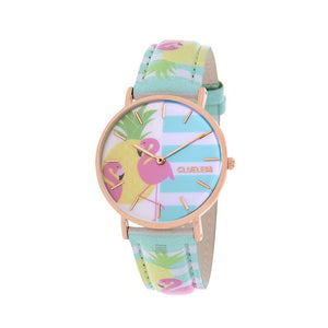Clueless Montre Femme - Collection Tropical - Cuir Bleu - Cadran Multicolore | BCL10031-073