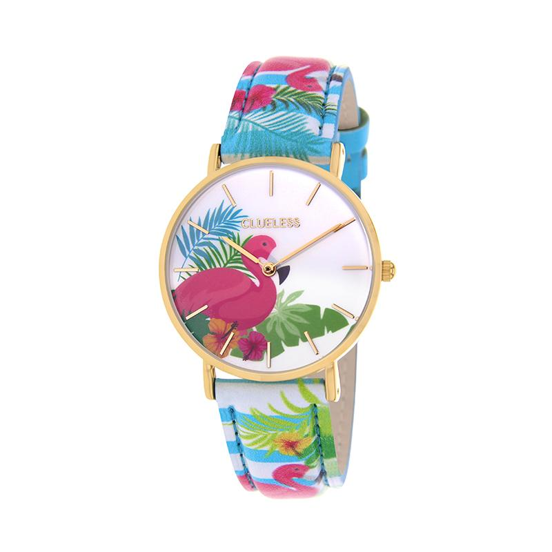 Clueless Montre Femme - Collection Tropical - Cuir Bleu - Cadran Multicolore | BCL10031-074
